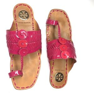 Tory Burch Caylan Sandals Pink Hibiscus Size 8.5